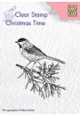 "CT023 Clear stamps Christmas time ""Conifer branch with bird"""
