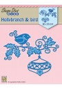 "SDB064 Shape Dies Blue ""Holly branch, bauble & bird"""